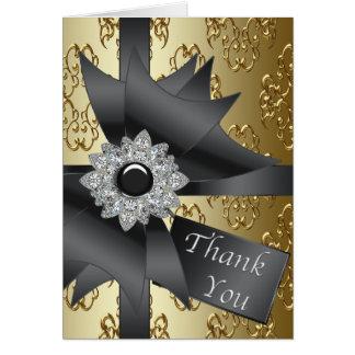 Gold Black Damask Thank You Card