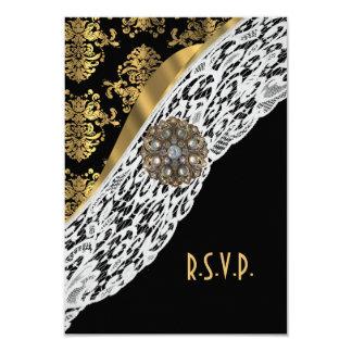 "Gold black damask white lace wedding R.S.V.P 3.5"" X 5"" Invitation Card"