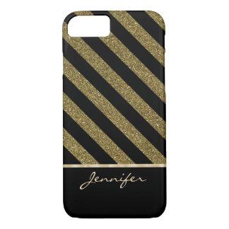 Gold Black Diagonal Faux Glitter Stripe iPhone 8/7 Case