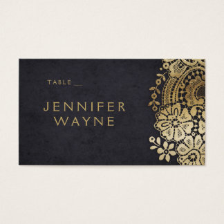 Gold black elegant lace wedding place cards