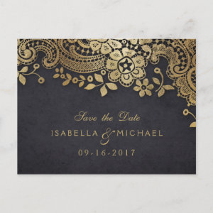 Gold black elegant lace wedding save the date announcement postcard