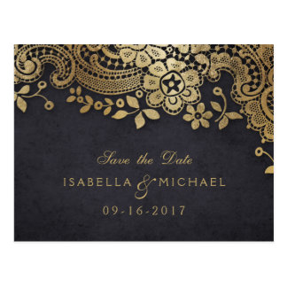 Gold black elegant lace wedding save the date postcard