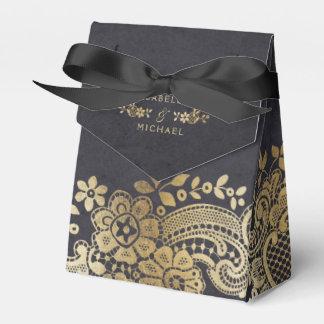 Gold black elegant vintage lace wedding favor favor box