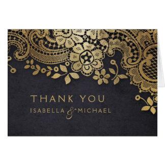 Gold black elegant vintage lace wedding thank you card