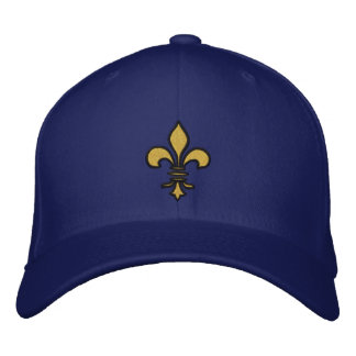 Gold/Black Fleur de lis Embroidered Hat