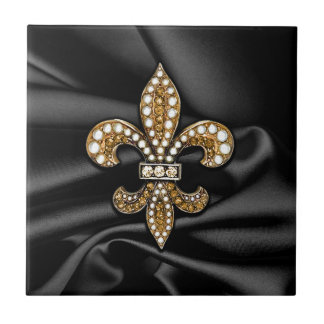 Gold Black Fleur De Lis Satin Jewel Tile