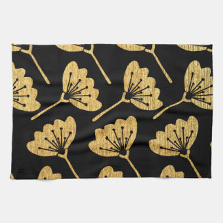Gold & Black Floral Kitchen Towel