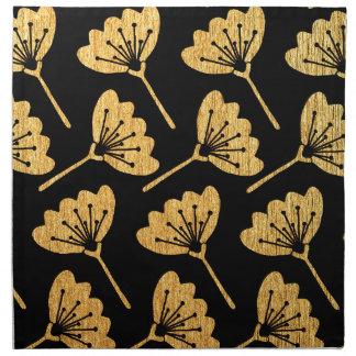 Gold & Black Floral Napkin