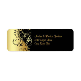 Gold & Black Floral Scroll Wedding Address Label