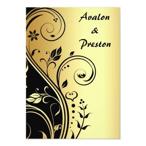 Gold Amp Black Floral Scroll Wedding Invitation Zazzle