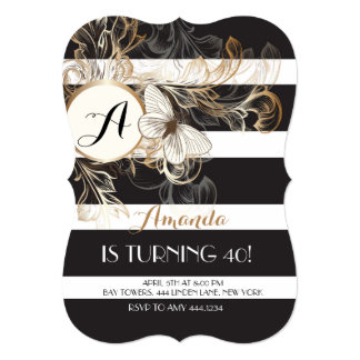Gold Black Floral Stripe Birthday Party Invitation