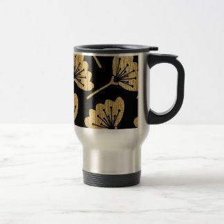 Gold & Black Floral Travel Mug