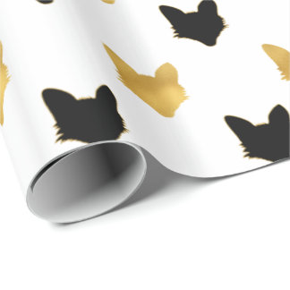 Gold Black Foxes Wrapping Paper