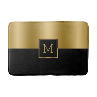 Gold & Black Geometric Design Monogram Bath Mat