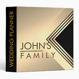 Gold Black Geometric  Modern Elegant Wedding 3 Ring Binder
