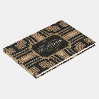 Gold Black Geometric Mosaic Pattern Wedding Guest Book