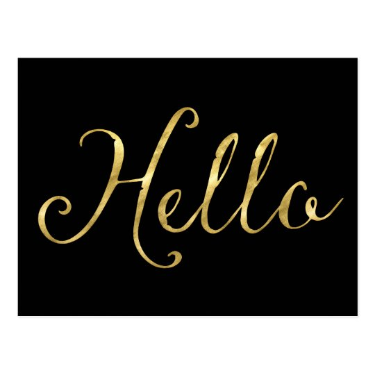 Gold Black Glam Hello Postcard