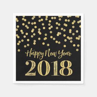 Gold Black Glitter Confetti Happy New Year 2018 Disposable Napkins