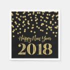 Gold Black Glitter Confetti Happy New Year 2018 Paper Napkin