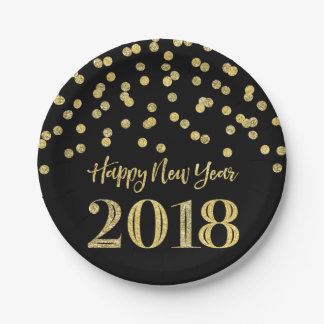 Gold Black Glitter Confetti Happy New Year 2018 Paper Plate