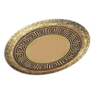 Gold & Black Greek Design Plate