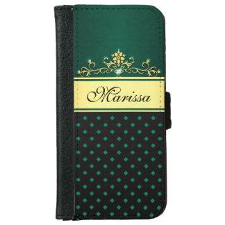 Gold Black Green Diamonds iPhone 6 Wallet Case