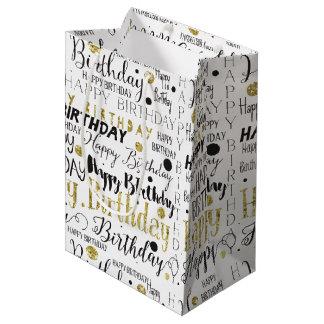 Gold Black Happy Birthday Confetti Medium Gift Bag