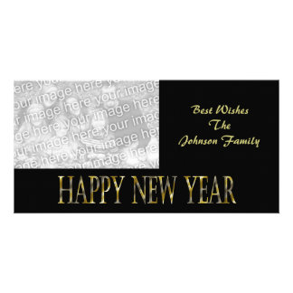 gold black happy new year customized photo card