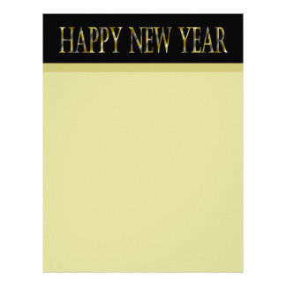 gold black happy new year letterhead