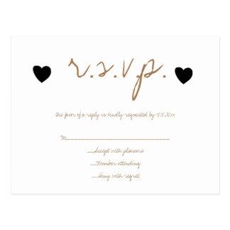 Gold black hearts wedding RSVP cards