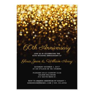 Gold Black Hollywood Glam 60th Wedding Anniversary Card