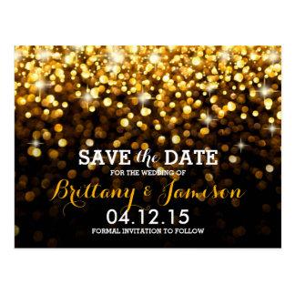 Gold Black Hollywood Glitz Glam Save the Date Postcard