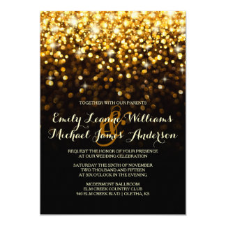 Gold Black Hollywood Glitz Glam Wedding Invitation