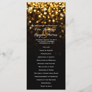 Gold Black Hollywood Glitz Glam Wedding Program