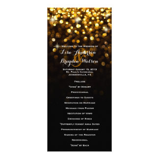 Gold Black Hollywood Glitz Glam Wedding Program Personalized Rack Card