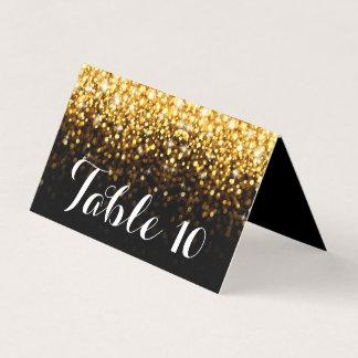 Gold Black Hollywood Glitz Glam Wedding Table Card