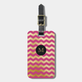 Gold, Black & hot pink Chevron Luggage Tag
