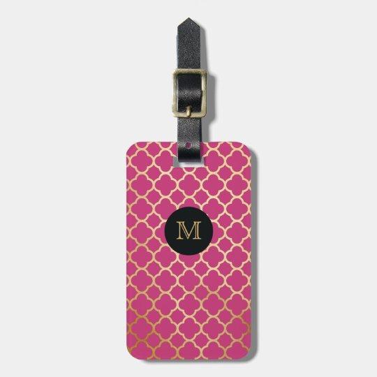 Gold, Black & hot pink quatrefoil Luggage Tag