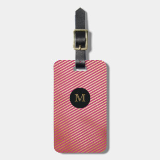 Gold, Black & hot pink Striped Luggage Tag