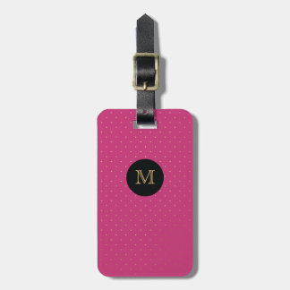 Gold, Black & hot pink Tiny Polka Dot Luggage Tag