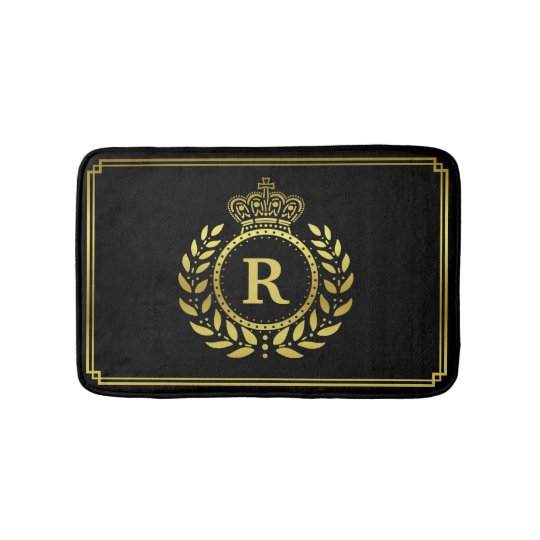 Gold Black Laurel Wreath Crown Royal Monogrammed Bath Mat