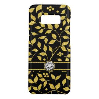 Gold & Black Leafs Pattern Monogram Case-Mate Samsung Galaxy S8 Case