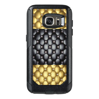 Gold Black Leather Look With Diamonds OtterBox Samsung Galaxy S7 Case
