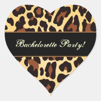 Gold Black Leopard Bachelorette Party Heart Sticker