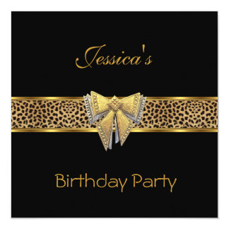 "Gold Black Leopard bow Elegant Classy Birthday 5.25"" Square Invitation Card"
