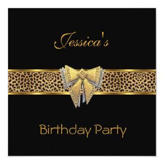 Gold Black Leopard bow Elegant Classy Birthday Card