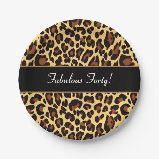 Gold Black Leopard Fabulous 40 Birthday A04 Paper Plate
