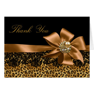 Gold & Black Leopard Thank You Card