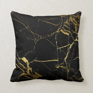 Gold Black Marble - Throw Pillow