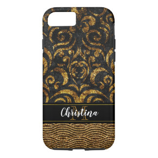 Gold Black Metallic Elegant Damask Bling Monogram iPhone 8/7 Case